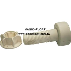 Złącze śrubowe. Jest tomocowanie boczne z nakrętką, które służy do montażu dodatkowych akcesoriów w bocznych uchwytach modułów Magic Float. Produkt:SA-404 Materiał:HDPE Lupolen 5261z z Niemiec Kolor: biały
