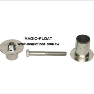Złącze śrubowe ze stali nierdzewnej. Złącze śrubowe służy do montażu dodatkowych akcesoriów w bocznych uchwytach modułów Magic Float. Produkt: SA-507 Materiał: Stal nierdzewnaAISI-304